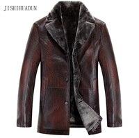Hombres chaquetas de cuero Nuevo Invierno de la llegada de la marca, además de Terciopelo grueso Cálido Business Casual Para Hombre de Cuero de La Motocicleta Chaquetas abrigos