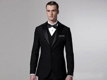 Black Groom Tuxedos Men Wedding Suits Blazers Bridegroom suits Prom Clothing Two Buttons Custom (Jacket+Pants+Vest) Formal Suits