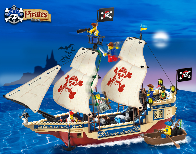Enlighten Model building kits compatible with lego city Pirate boat Sea King 972 3D blocks Educational toys hobbies for children ...
