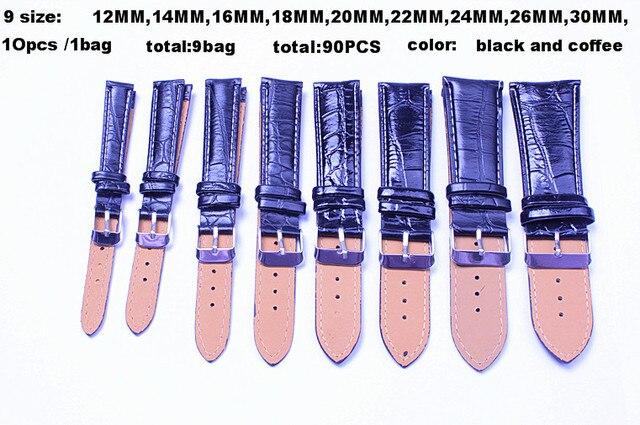Venta al por mayor 90 unids/lote tamaño de alta calidad: 12MM 14MM 16MM 18MM 20MM 22MM 24MM 26MM  30MM Correa de reloj de cuero PU