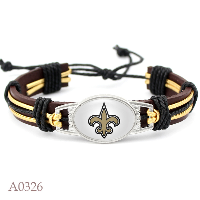 10 Pcs New Orleans Saints Packers Football Team Real Leather Bracelet Adjule Mens