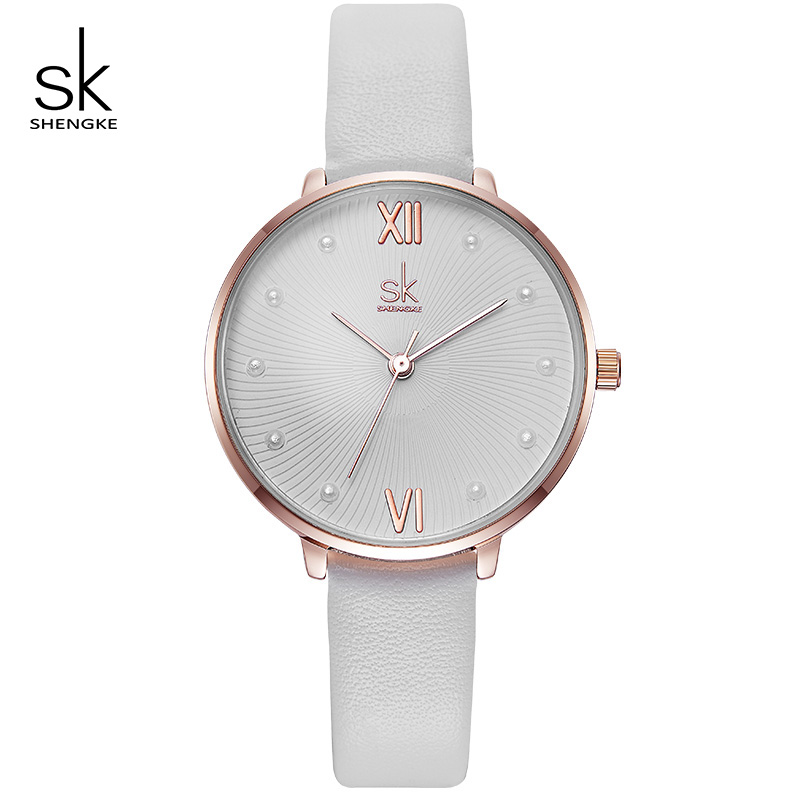 Shengke Watches Women Fashion Leather Wrist Watch Relogio Feminino 2019 New SK Elegant Ladies Pearl Dial Quartz Watches #K8034