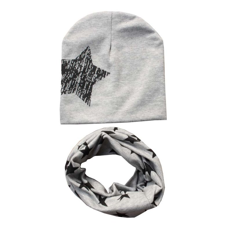 Kids Hat Scarf + Hats Set Autumn Winter Cotton Scarf-collar Warm Beanies Star Print Infant Hats Scarf Sets Accessories