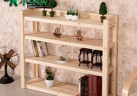 All Solid Wood Shelf Bracket Floor Living Room Simple Kitchen Storage Rack