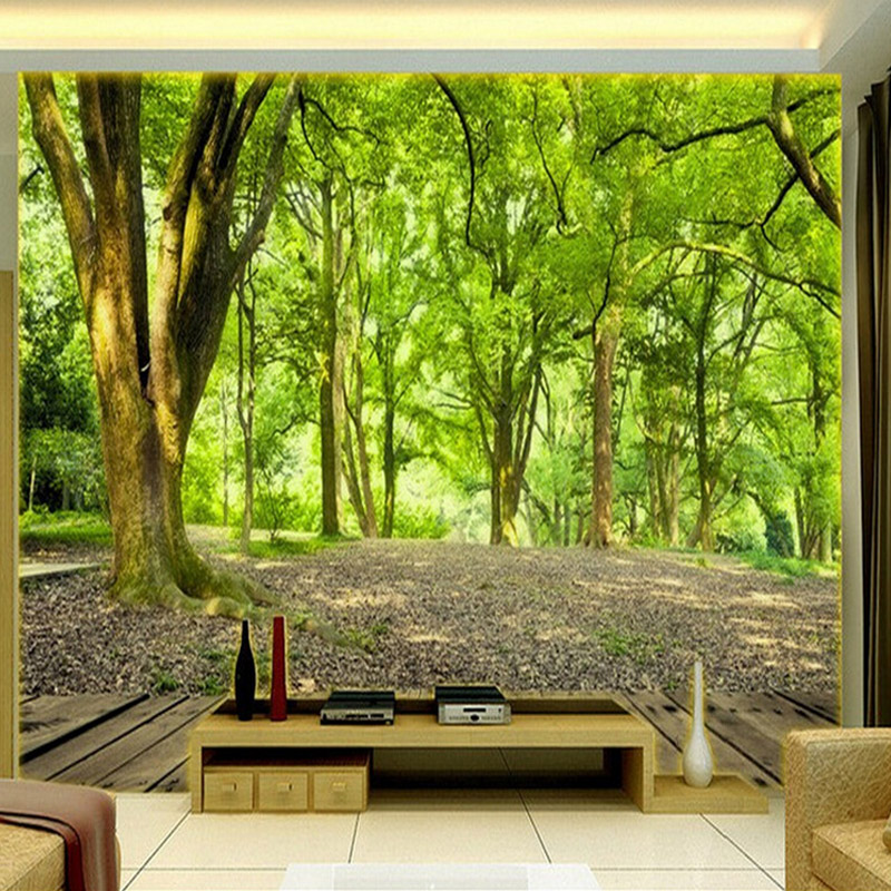 Custom 3D Mural Wallpaper Living Room Bedroom TV Background Non-woven Wall Covering Pastoral Forest Nature Landscape Wallpaper  free shipping pine forest 3d landscape background wall living room bathroom bedroom home decoration wallpaper mural