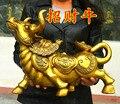 49 cm große HAUSE SHOP Unternehmen FENG SHUI wirksam Lager business Geld Zeichnung GUTE LUCK Bull Taurus Maskottchen Messing statue-in Statuen & Skulpturen aus Heim und Garten bei