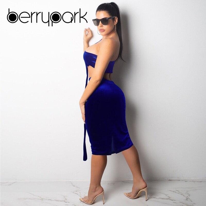 Royal Blue High-End Velvet Dress (2 Piece Set) 1