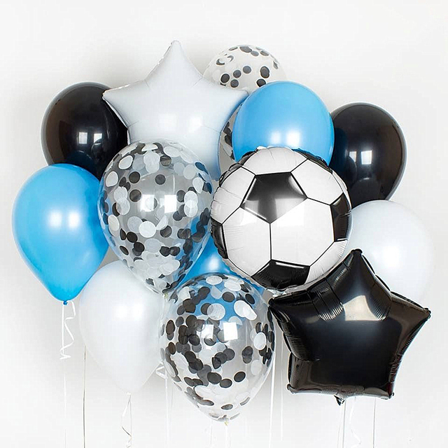 13pcs Football Soccer Theme Party Round Balloons Black White Confetti Helium Balloon Sports Meet Boy Party Decoration Supplies