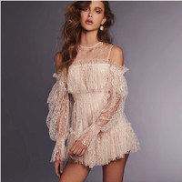 New Runway Ladies Sexy Off Shoulder Long Sleeve Lace Mesh Dress Summer Women Ruffles Elastic Waist Party Mini Dresses Vestidos