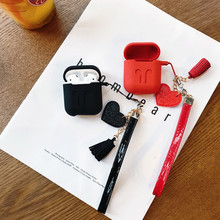 4 Color Cartoon Heart Tassel Keychain Headphone Earphone Case For Apple Airpods Accessories cute silicone cover