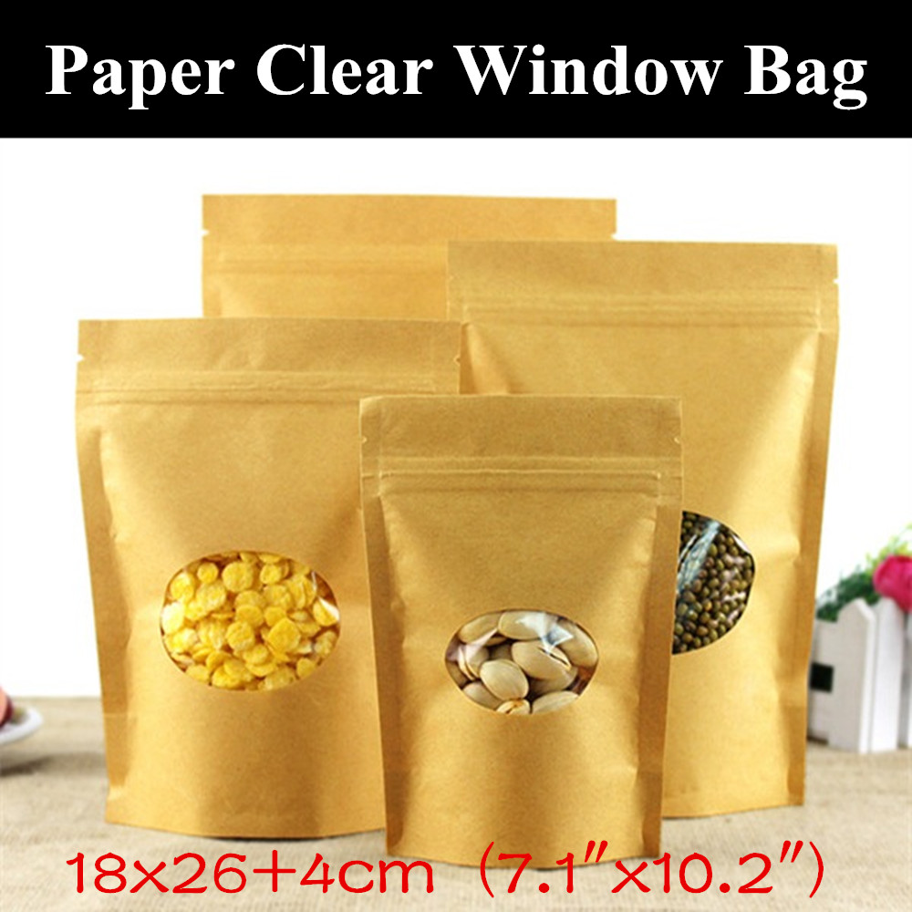 50pcs 18x264cm 71x102 280micron large kraft paper oval window ziplock bag stand up paper christmas gift bag wedding bag