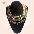 New handmade women bohemia necklace vintage pendants multicolor chain fashion african ankara fabric necklace accessiory WYA064