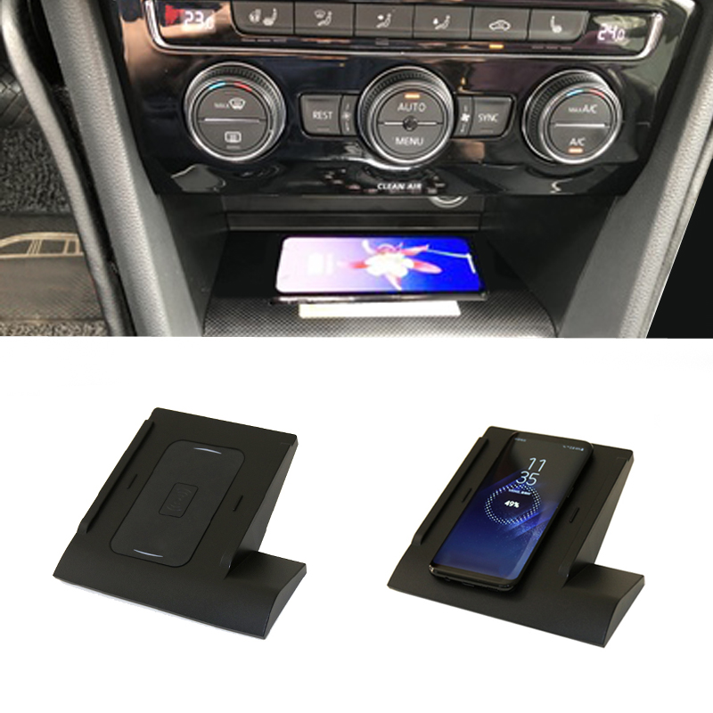 10W Car QI Wireless Charging Phone Charger Adapter Fast Charging Panel Phone Holder Accessories For VW Golf 7 MK7 For IPhone 8 X