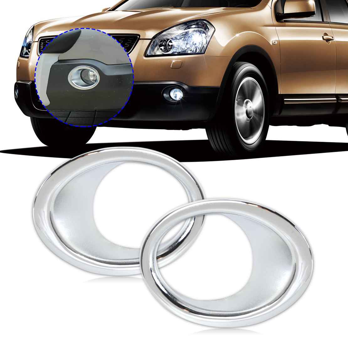 beler 2pcs ABS Plastics Chrome Front Fog Lights font b Lamp b font Mask Cover Molding