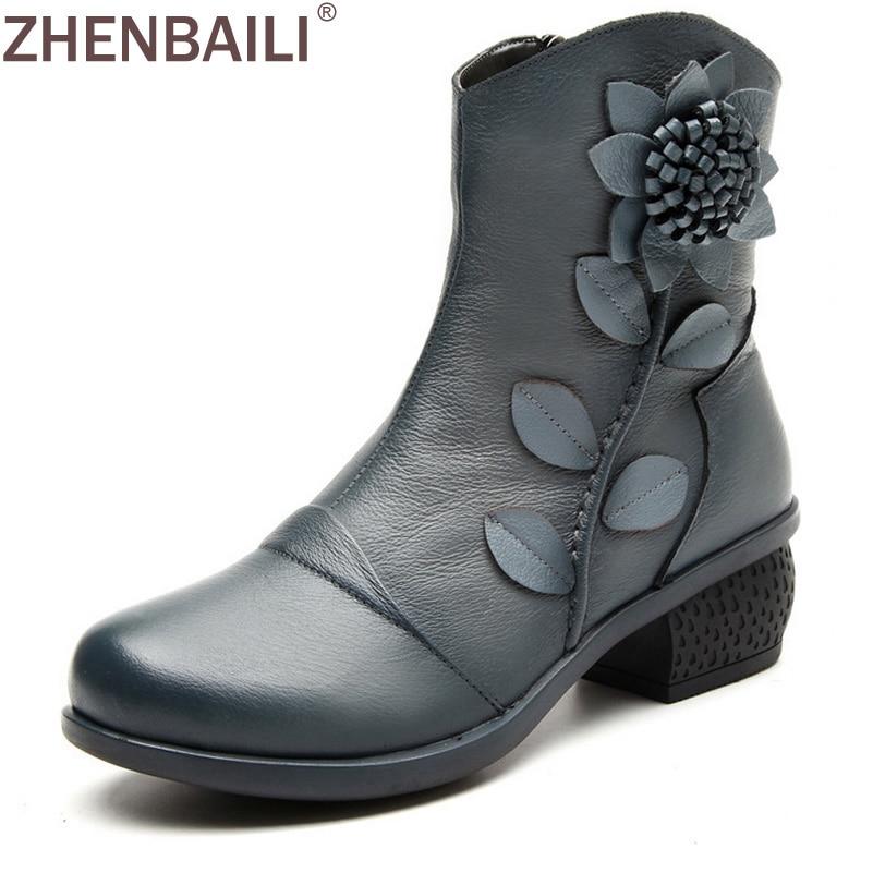 Elegant Genuine Leather Boots 2017 Spring Autumn Winter Fashion Flower Med Square Heel Boots Black Grey Casual Women Boots розов г какую камеру купить
