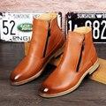 Botines Casuales de la moda de Los Hombres de Cuero Genuino Martin Botas Impermeables Cálidos guantes de Punto de Invierno Toe Botas Cortas Zapatos Para Hombre