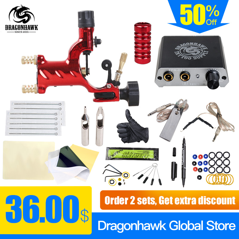 Professional Tattoo Rotary Guns Kit Liner And Shader Complete Tattoo Machine Sets Starter Supply