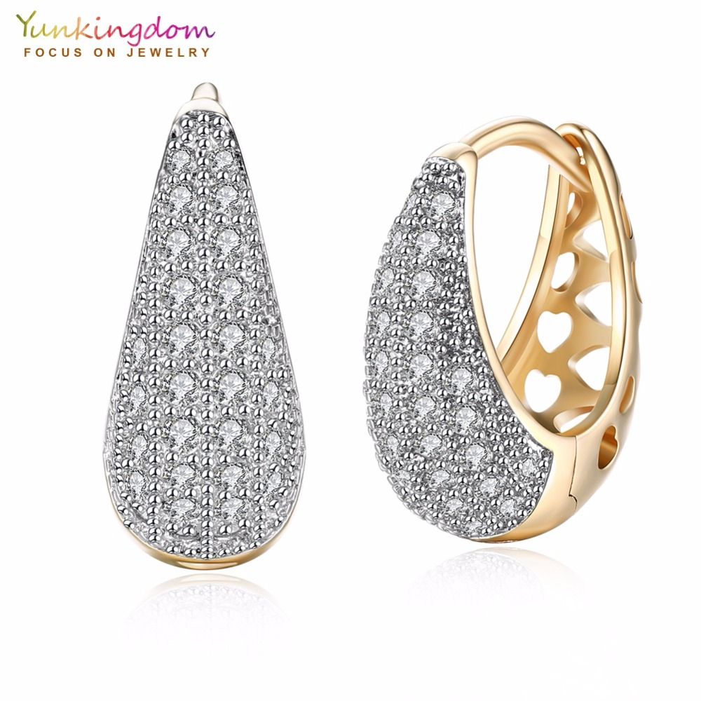 Yunkingdom Water Drop Design Circle Hoop Ականջօղեր կանանց համար Elegant Fashion Gold Gold Ականջօղեր LPK5137