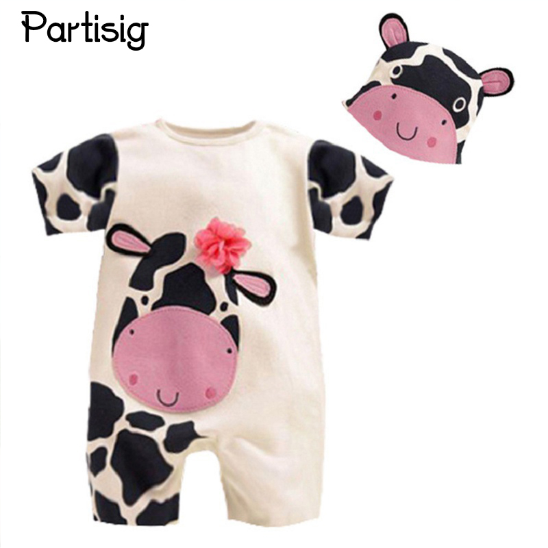 Roupa De Bebe Cartoon Animal Short Sleeve Romper Hat 2PCS Set Summer Baby Boy Clothes Baby Girl Clothing Cow Panda Zebra Lion baby girl clothing syriped short sleeve tshirt pant headband 2pcs set summer baby girls clothes set roupa de bebe