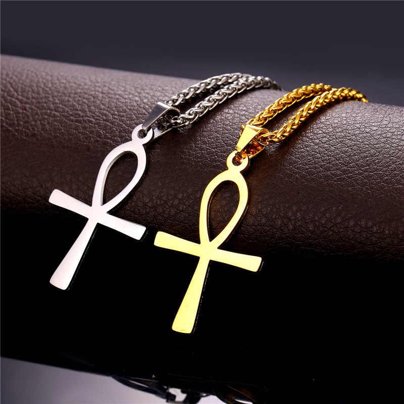 Kpop Tôn Giáo ANKH Chữ Thập Charm Pendant Vòng Cổ Vàng/Bạc Màu Ai Cập Hòa Bình Đức Tin Key Của Cuộc Sống Pendant với chuỗi P330