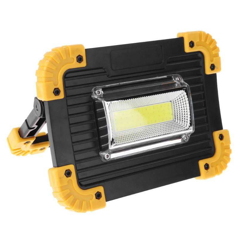 30W 400LM Portable LED Spotlight Floodlight Outdoor Camping Lawn Work Lamp Cold White USB Charging Phone Power Bank