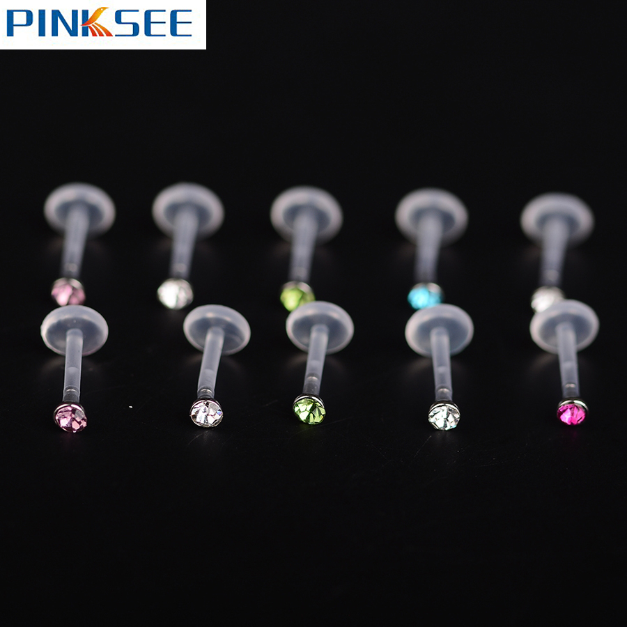 25pcs lot zircon monroe labret lip bar ring plastic ear for Plastic cheek piercing jewelry