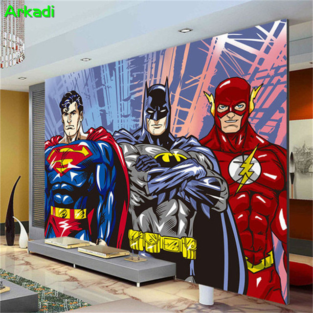 Custom D Wall Mural Batman Superman Manga Photo Wallpaper Boy Kid Bedroom Parlor Room Decor Superhero