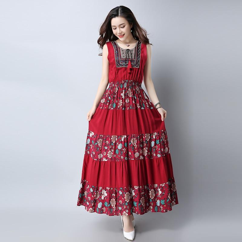 8631# 2020 Summer New Women Fashion Folk Style Cotton Linen Sleeveless O-neck Embroidered Maxi Dress Vintage Dress Vestidos