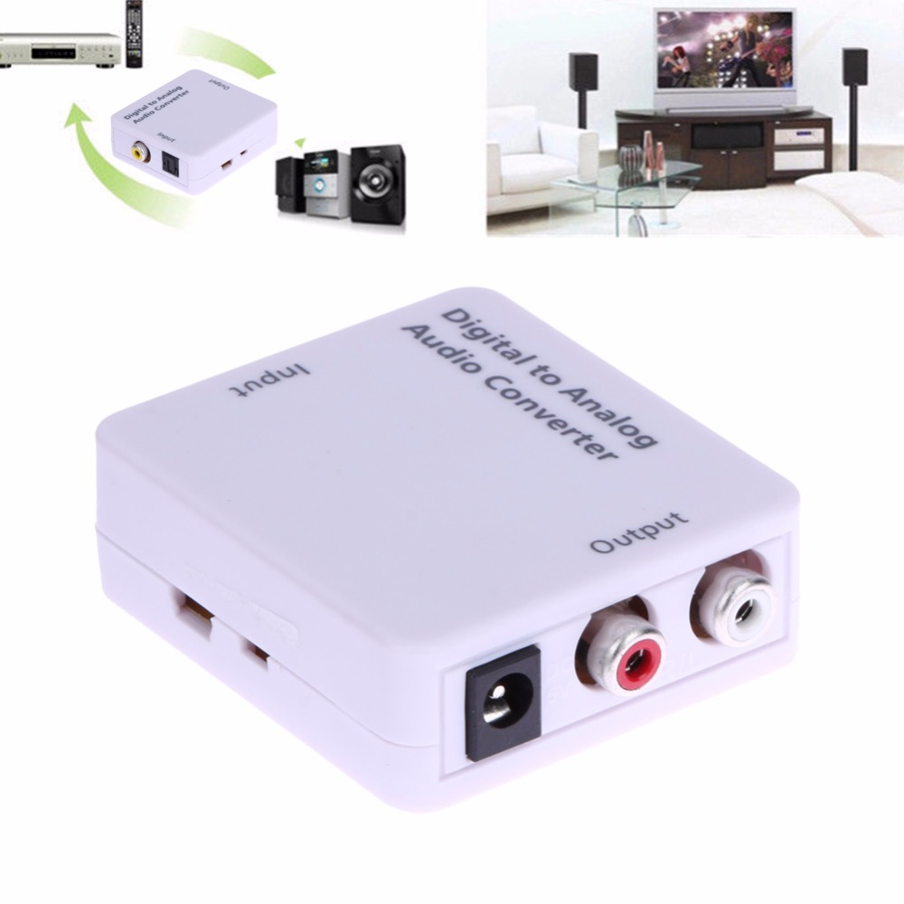 Digital to Analog Audio Converter Adapter Digital Optical Coaxial Toslink RCA L/R + USB Power Cable Audio Converter Adapter