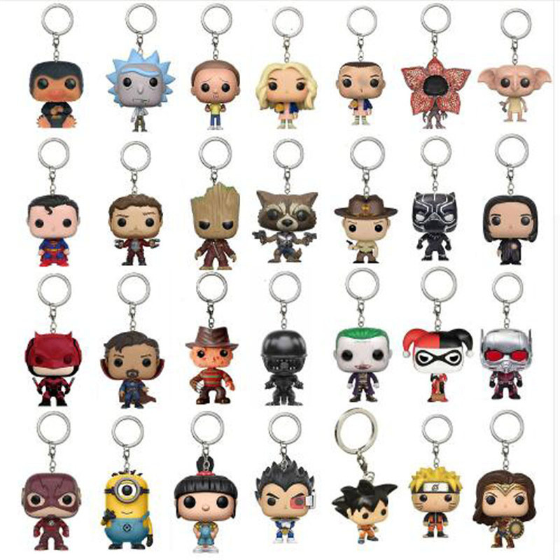 Fashion Creative Jewelry POP New Marvel Keychain Spider Chivalry Captain Game Movie Surrounding Key Chain With Box Gift
