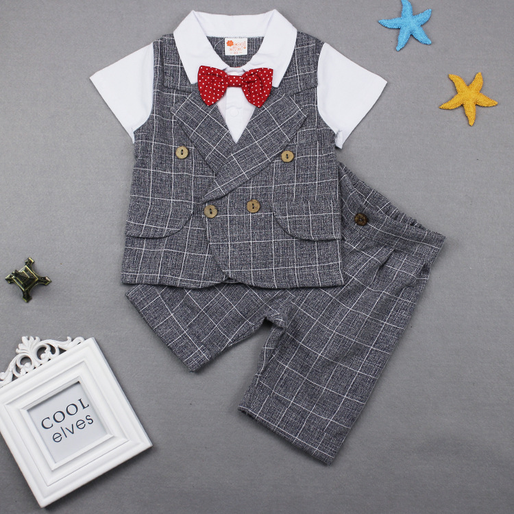 Baby Boy Clothes Plaid Bow Jumper tops with Cotton Short pants 2018 Boy Fashion Summer Sets Kids Outfits clothing