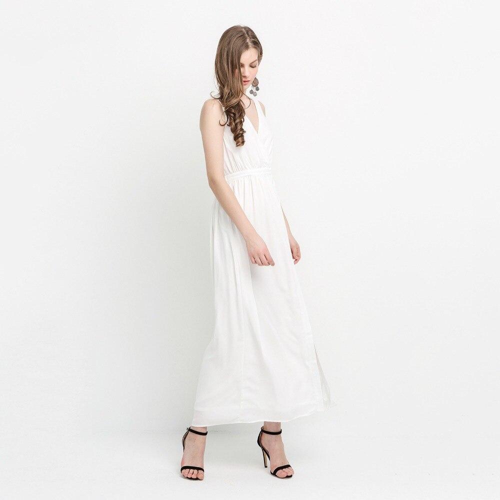 Haoduoyi Cou Latérale Marfim Sans Manches Arrivée V Bref Hdy Blanc Sexy Fente Taille Partie Botton Robe Maxi Profonde 2018 Solide Nouvelle Haute FfdqwtxBt