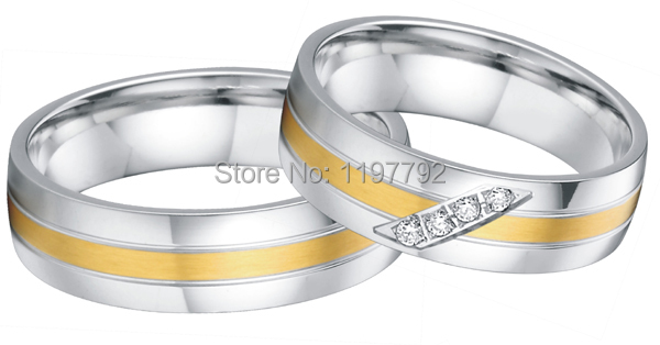 tailor made jewelry yellow gold color health surgical titanium steel engagement wedding matching rings sets for couples цена 2017