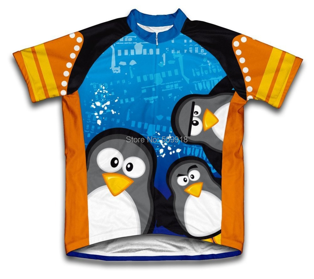 Road Curious Penguins Summer Cycling Jerseys Short Sleeve Bike Sports Clothing Cycle Bicycle Clothes Ropa Ciclismo