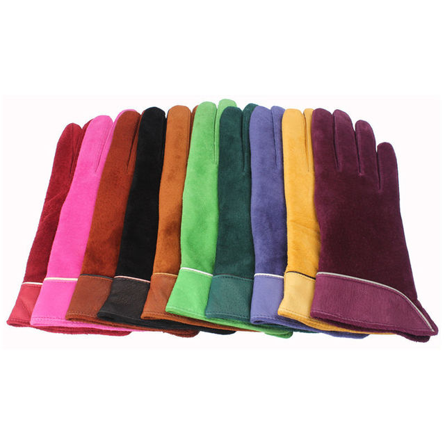 2020 Brand New Fashion Women Genuine Suede Leather Fleece Gloves Winter Women Leather Gloves Female Lady Driving Leather Gloves