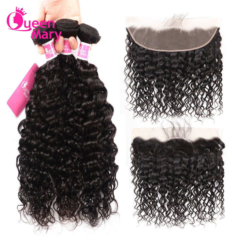 Wave-Bundles Closure Hair Frontal Queen Mary Brazilian with Non-Remy Natural