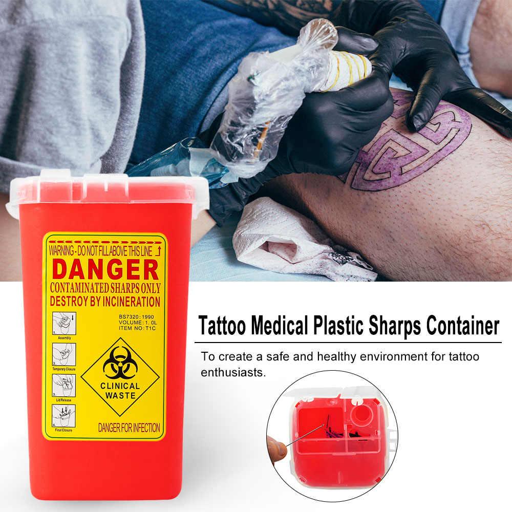 1 шт. контейнер для татуажа 1Л размер медицинский пластик биобезопасный игольчатый ящик для отходов для татуажа художника красного цвета