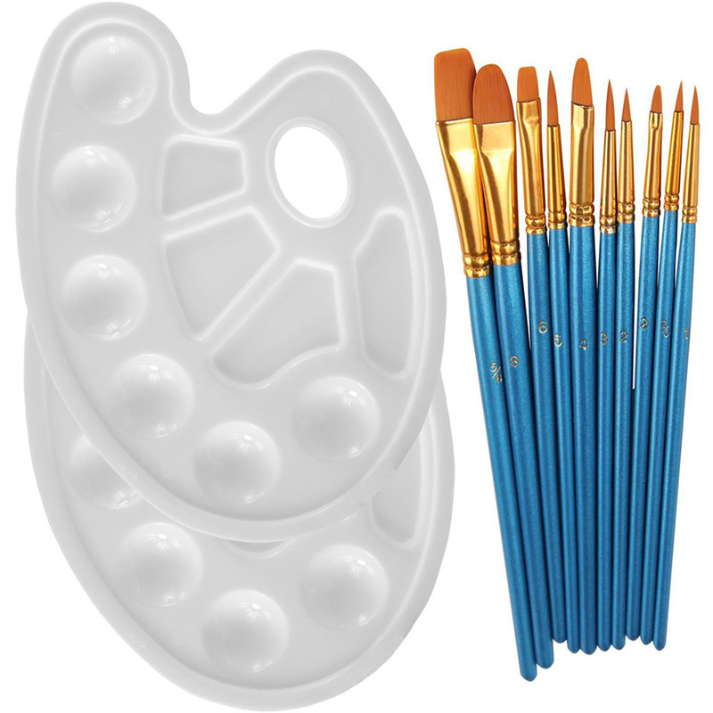 10PCS Round Pointed Tip Nylon Hair Brush Set With 2 Piece Paint Tray Palette Best gift for Child Kids Face Paint Brush Pen paint palette color mixing tray drawing utensil