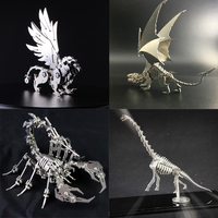3D Metal Model Chinese Zodiac Dinosaurs Lucky God Beast Finished Product No Assembly Toys Collection Desktop