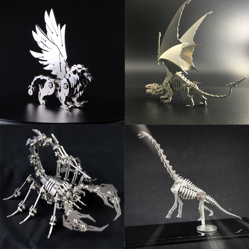 3D Metal Model Chinese Zodiac Dinosaurs Lucky God Beast Finished Product No Assembly Toys Collection Desktop For Adult Children цена и фото