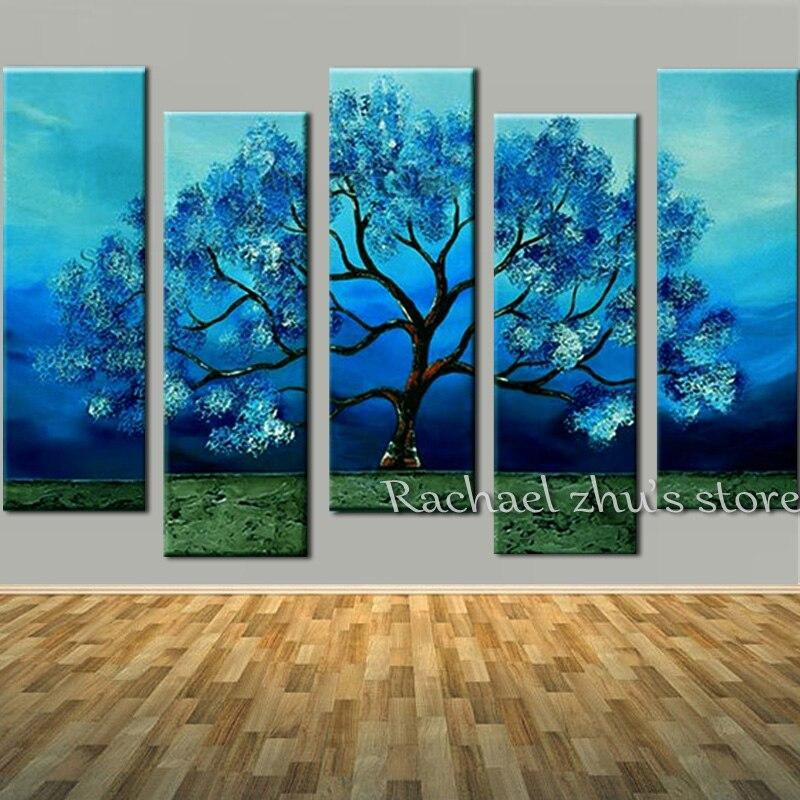 Dipinto A mano Blu Fiore In Fiore Albero 5 Panles Olio Su Fiore della tela di canapa Albero di Arte Della Parete Picturers Per Living Room Home Decor