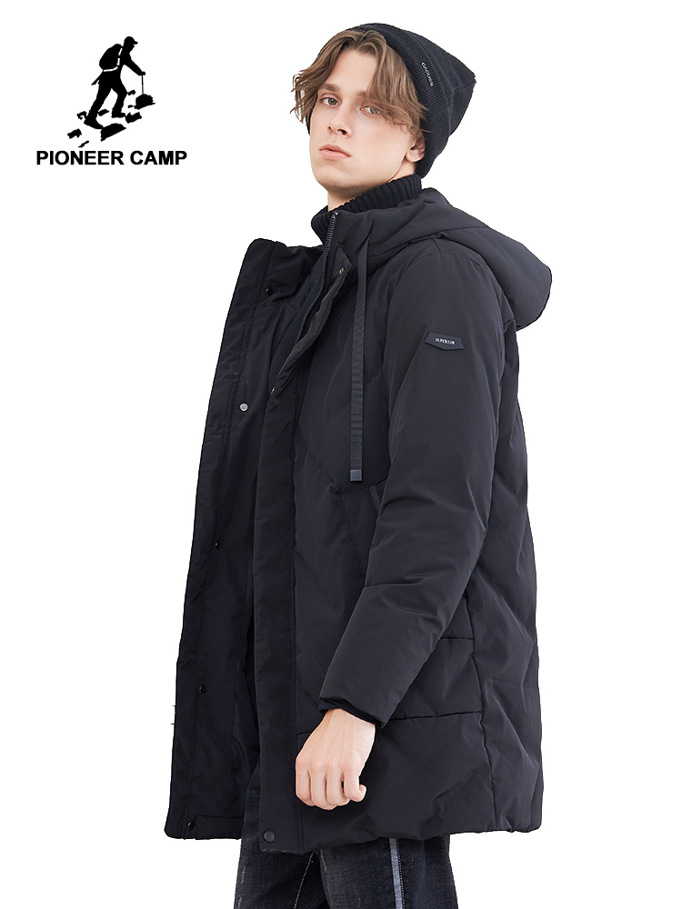 Pioneer camp new winter long   down   jacket men brand clothing thick warm hooded   down   parkas quality duck   down     coat   black AYR801477