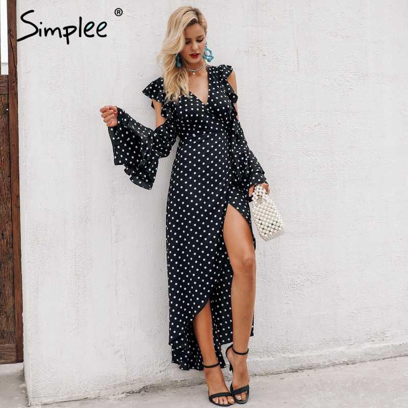 Simplee горошек с запахом и оборками длинное платье Для женщин Разделение Длинные рукава Весна Повседневные платья 2018 уличная черный Maxi dress Vestidos