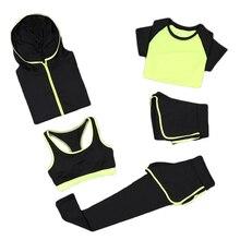 5pcs/set Women Set Sportswear coats+t shirt+bra+shorts+pants Quick Dry Fitness Gym Clothing Womens Outdoor Sports 8036