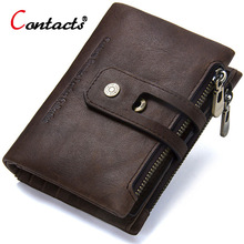 CONTACT'S Small Wallet Men Genuine Leather Purse Male Mini Card Holder Coin Purse Men Luxury Brand Designer Men Wallet 2017