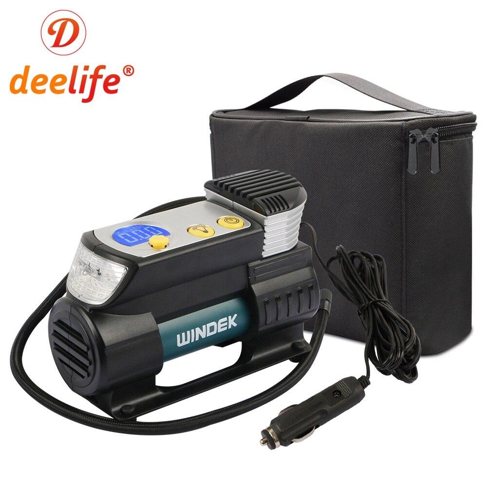 Deelife Car Air Compressor Digital Tire Inflator 12V with Preset Tyre pressure Auto Stop Super Fast