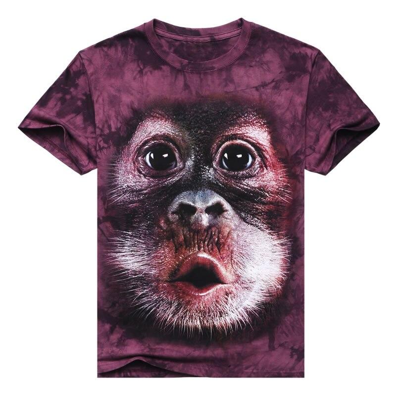 2017 Short Sleeve 3D Full Print Fashion Men T-shirt Cotton O-neck Animal Man Tees Summer T Shirt Casual Tie dye Orangutan A802