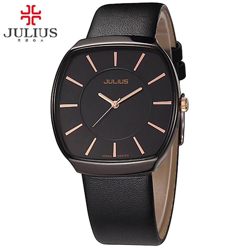 Top Julius Homme Men's Watch Japan Quartz Hours Fine Fashion Dress Bracelet Simple Leather Birthday Lovers Boy Gift new simple cutting glass women s watch japan quartz hours fashion dress stainless steel bracelet birthday girl gift julius box