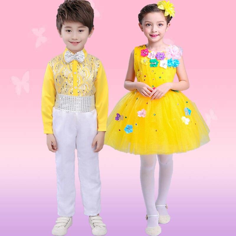 Children's Ballet New Style Children's Costumes Girls Princess Dress Pettiskirt Boys Sequins Bib Pants Chorus Performance Suits