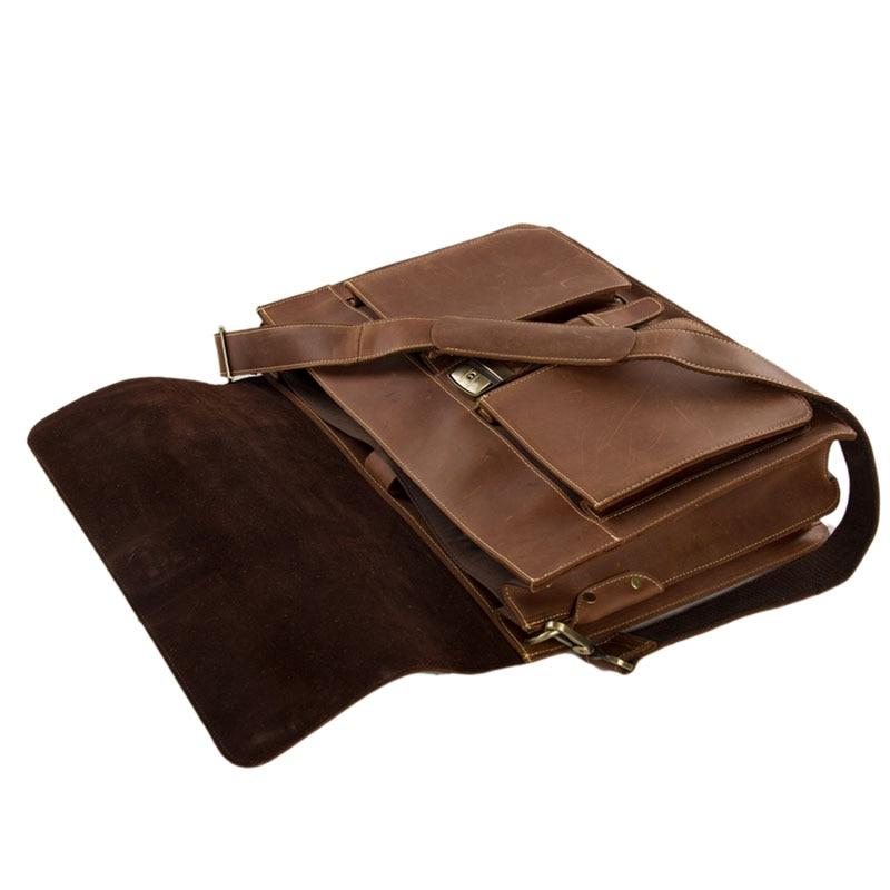ROCKCOW Мъжки кафяви плътни кожени 15 - Чанти за документи - Снимка 5